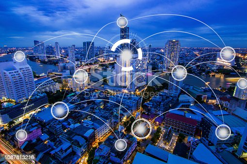 1155541483istockphoto Network internet and Connection technology concept with night city background 1087813216