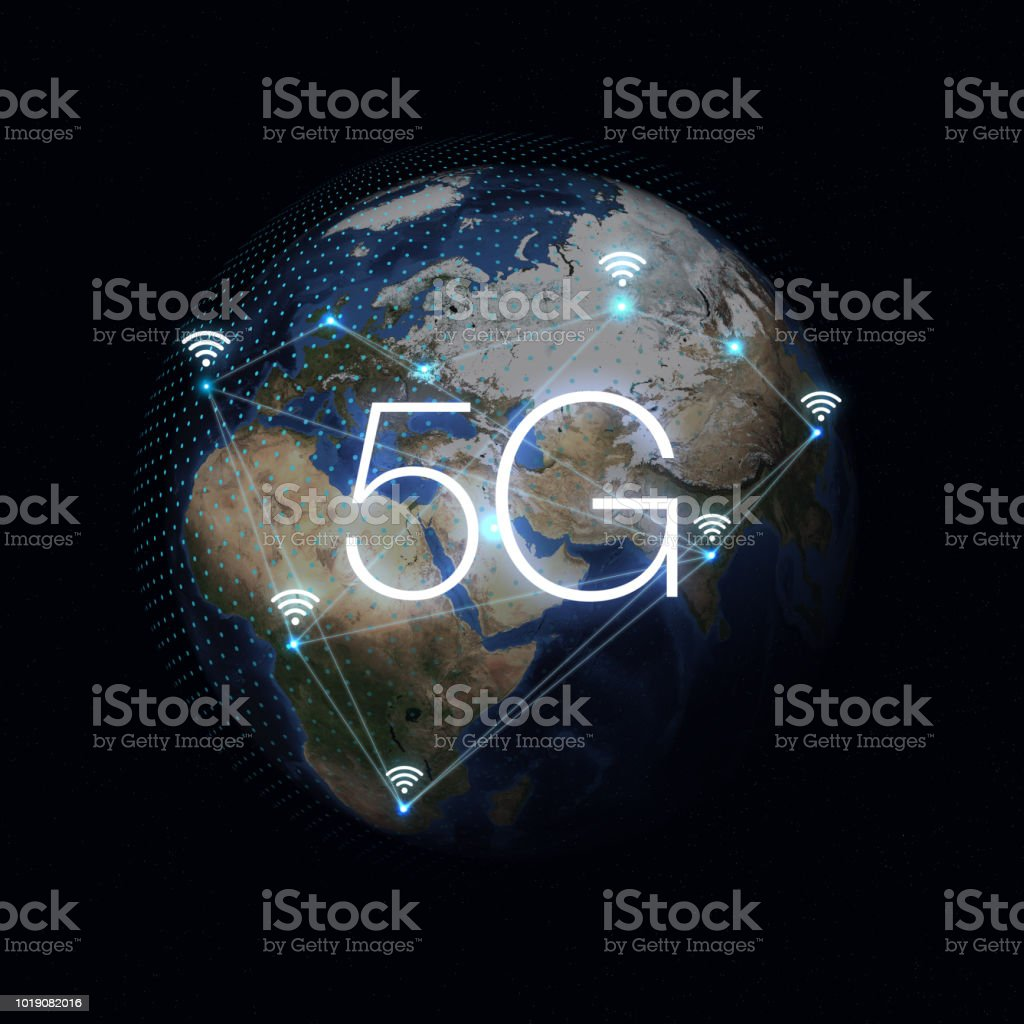 5G Network Internet Mobile Wireless Business concept.5G standard of modern signal transmission technology. stock photo