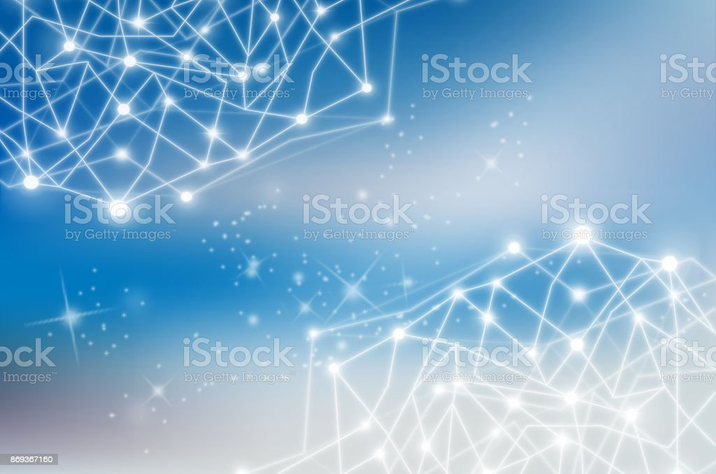 Network line and point on the star and blue background, Geometric with connected line and dots. Internet Network and technology concept stock photo