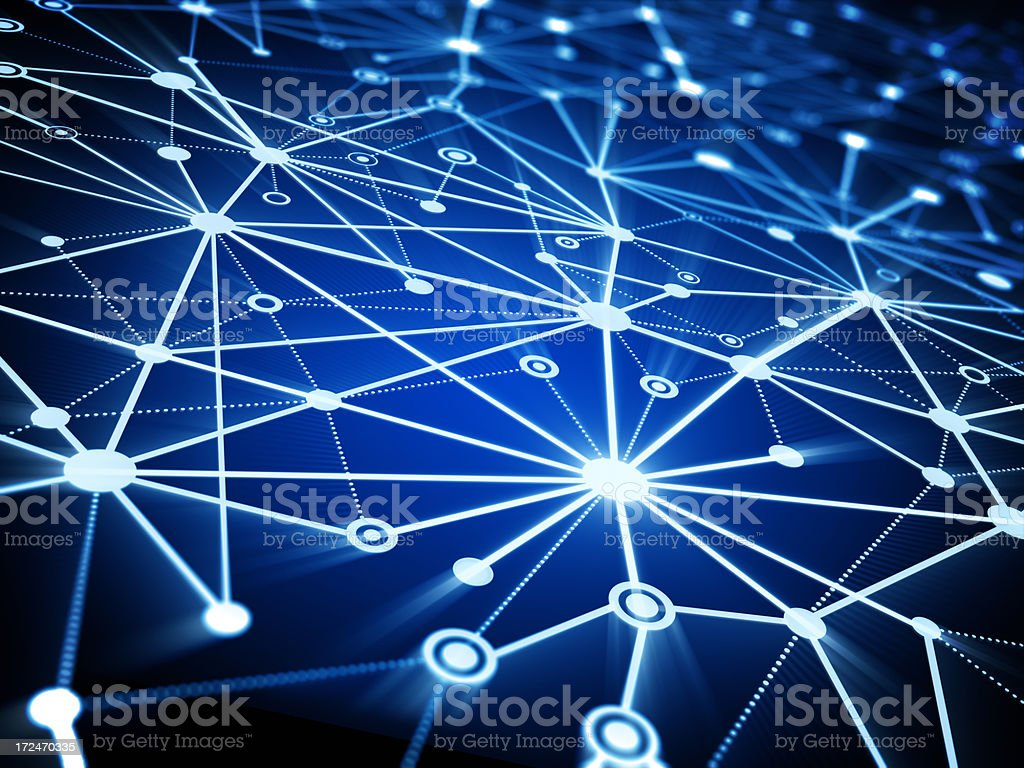 Network lines and dots on blue background stock photo
