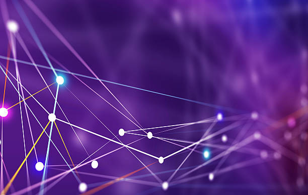 Linhas de conexão de rede de servidores - foto de acervo