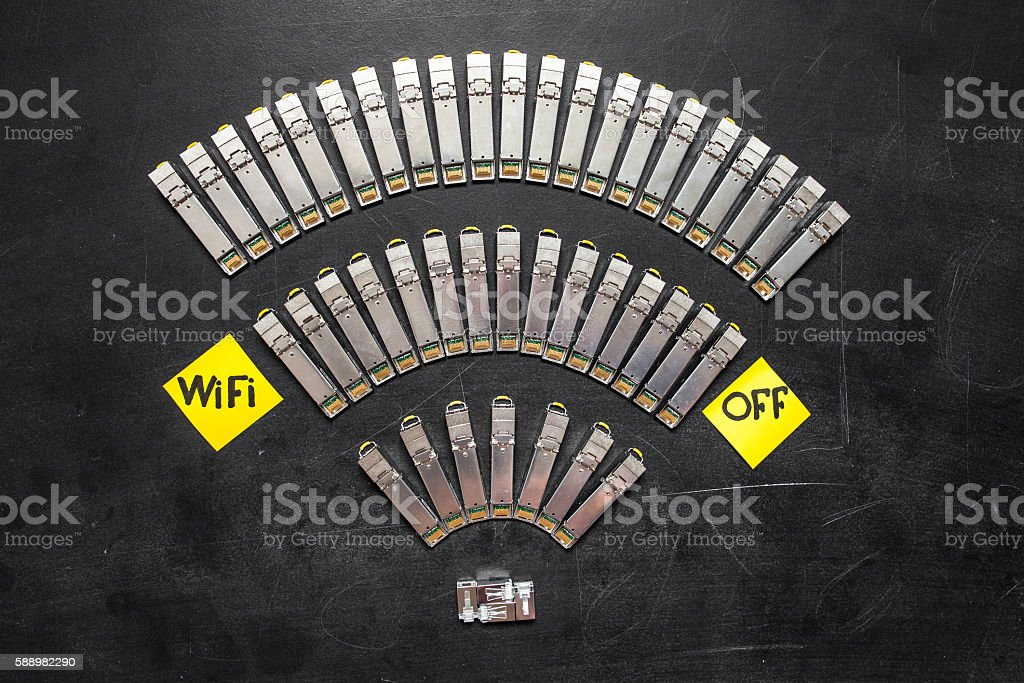 SFP network modules for network switch as wifi symbol stock photo