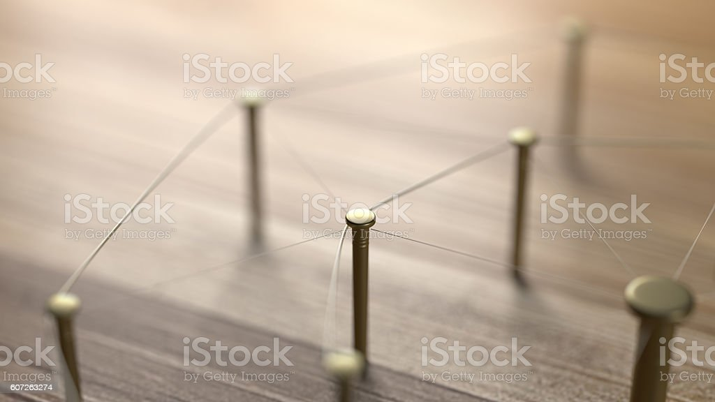 Network, networking, connect, wire. Linking entities. 3D Rendering. - foto de stock