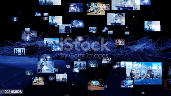 889231072istockphoto Network of business concept. Group of pictures in cyberspace. IoT(Internet of Things). AI(Artificial Intelligence). 1005153528