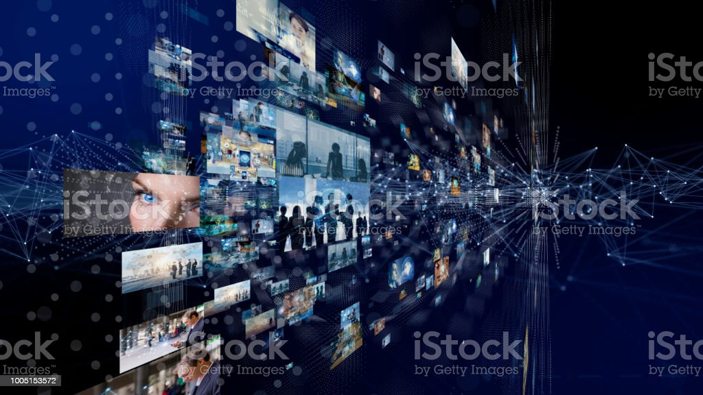Network of business concept. Group of pictures in cyberspace. IoT(Internet of Things). AI(Artificial Intelligence). stock photo