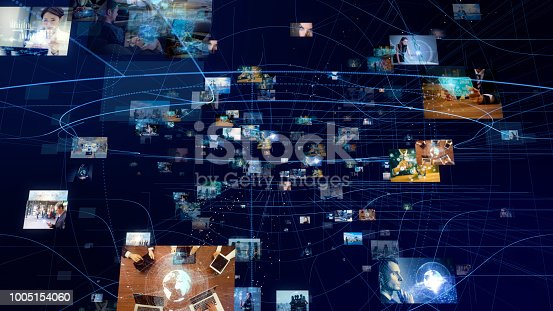 889231072istockphoto Network of business concept. Group of pictures in cyberspace. IoT(Internet of Things). AI(Artificial Intelligence). 1005154060