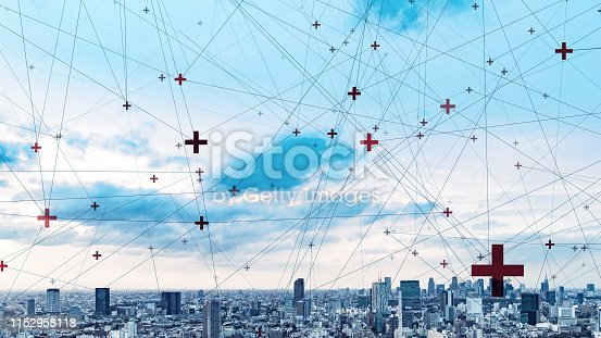 istock Network of business concept. Smart city. 1152958118