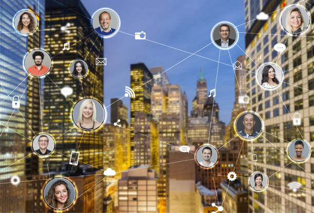 Network of business people, New york city on the background stock photo
