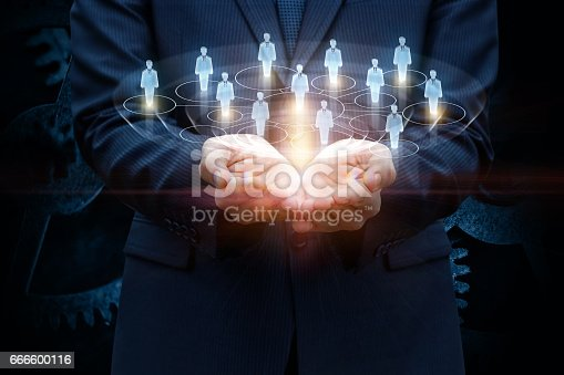 istock Network of consumers in the hands. 666600116