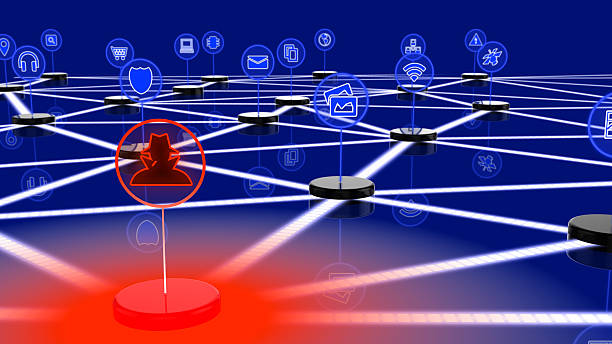 Network of internet of things attacked by a hacker stock photo