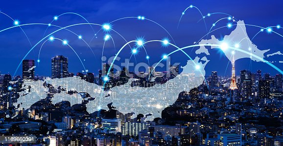 586932042 istock photo Network of Japan concept. Map of Japan and communication network. 1169660391
