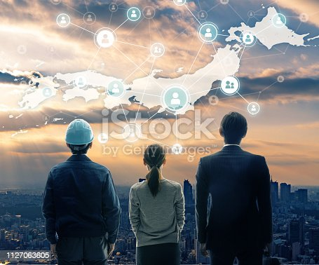 istock Network of Japan concept. 1127063605