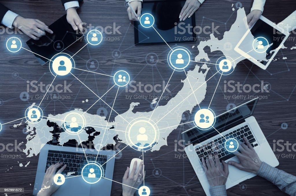 日本のネットワーク。日本通信ネットワーク。 ストックフォト