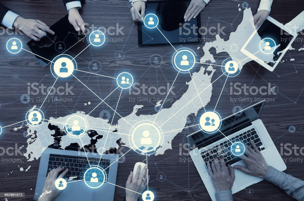 Network of Japan. Japanese communication network. stock photo