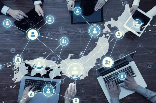 network of japan. japanese communication network. - политика и правительство стоковые фото и изображения