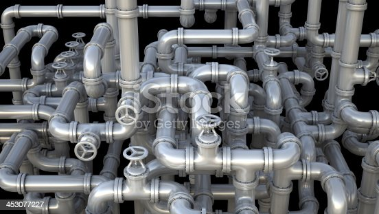 istock Network of pipelines and valves 453077227