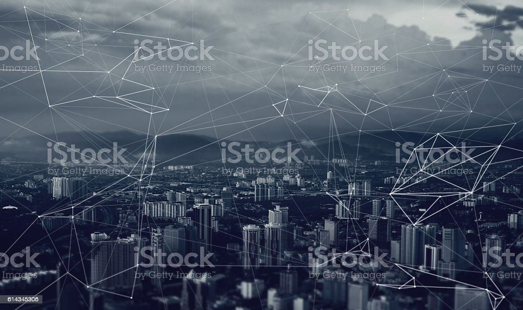 network of relationships and contacts over the metropolis , blue toning - foto de stock
