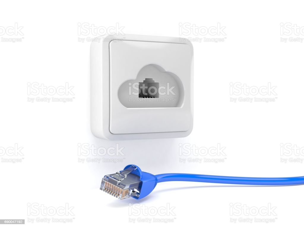Network outlet in cloud shape stock photo