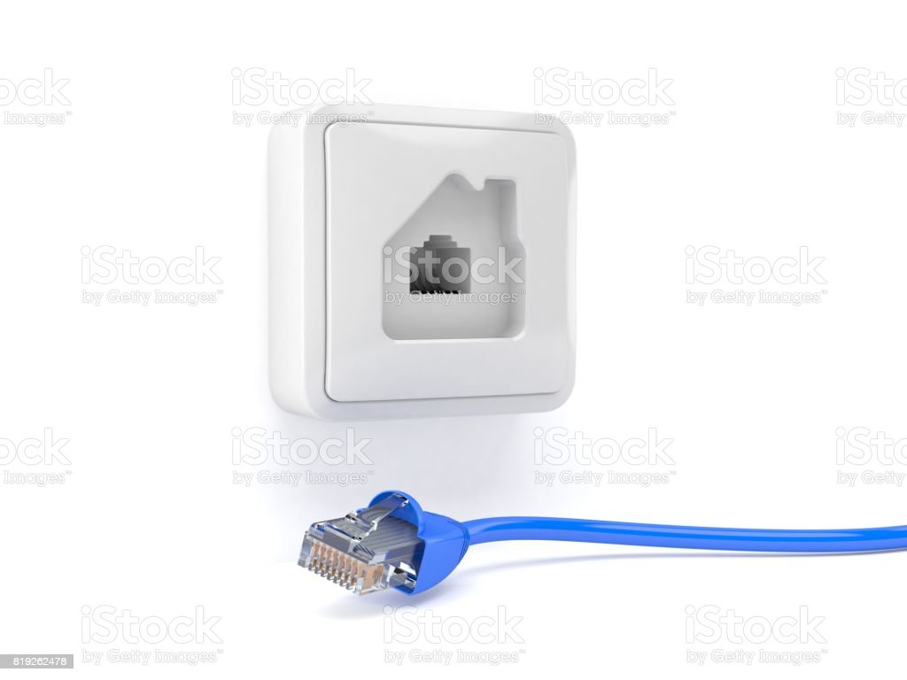 Network outlet in house shape with network plug stock photo