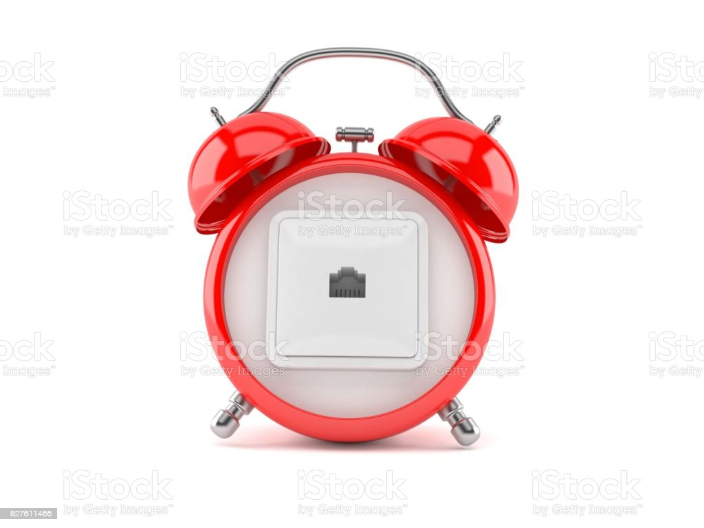 Network outlet on alarm clock stock photo