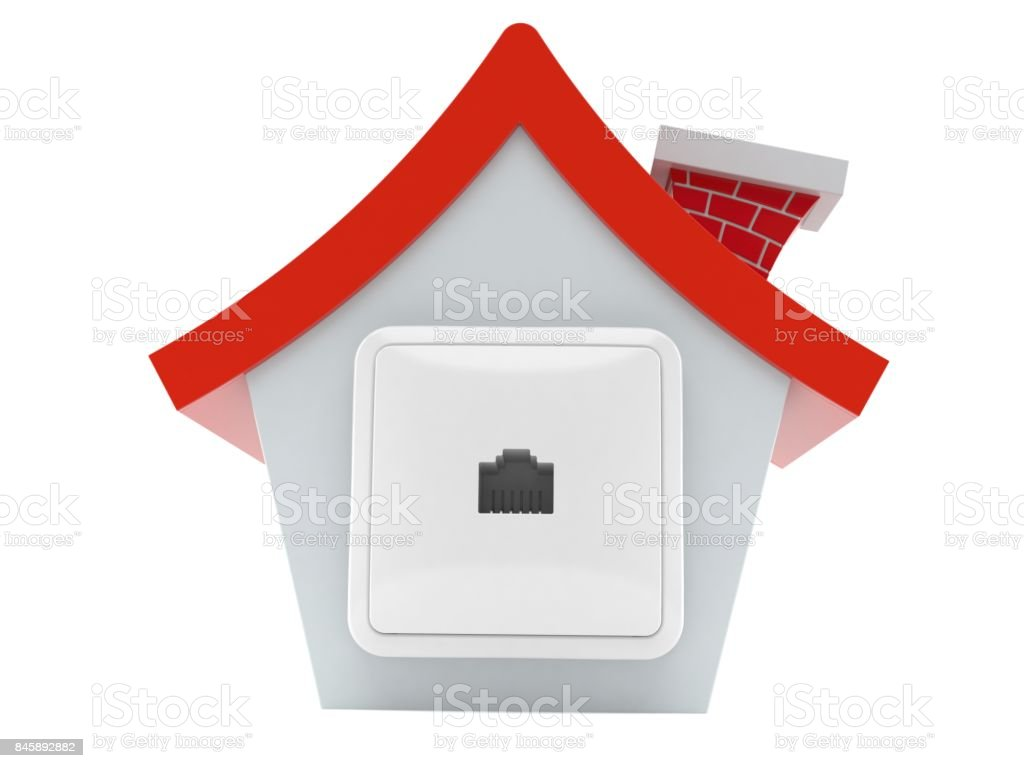 Network outlet on house stock photo