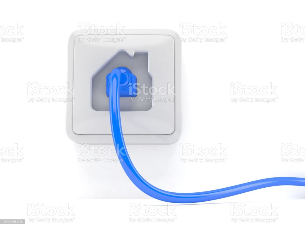 Network outlet with network plug stock photo