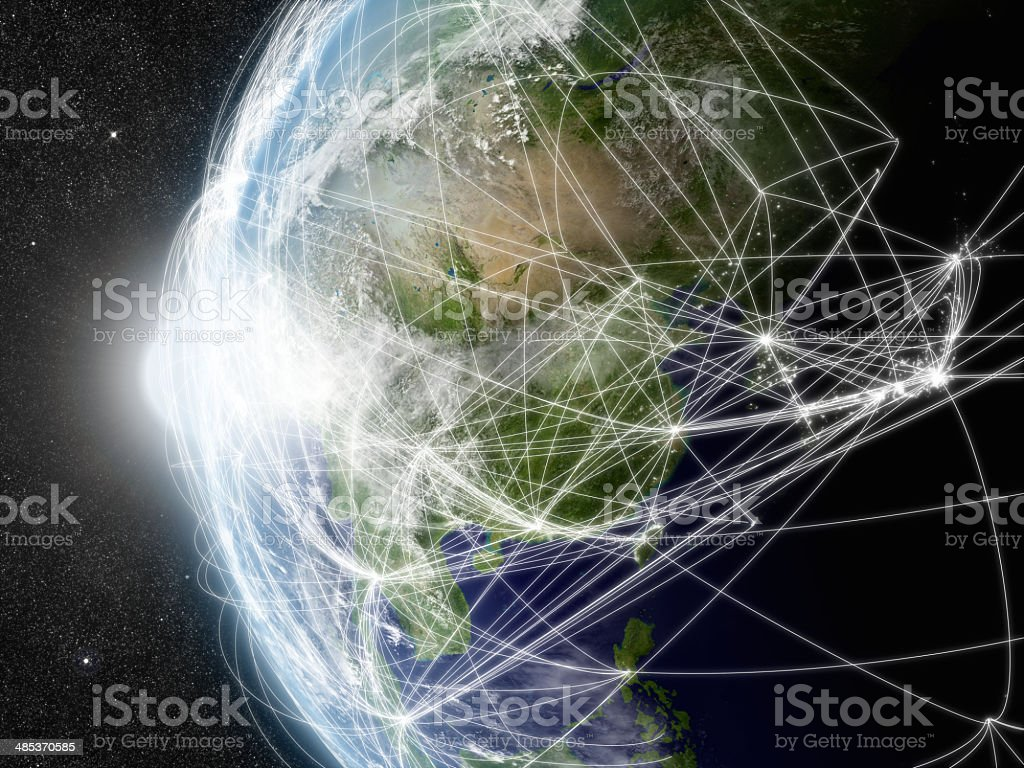 Network over East Asia stock photo