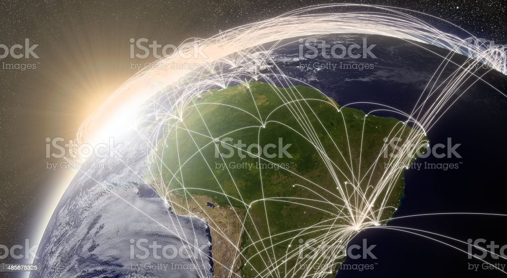 Network over South America stock photo
