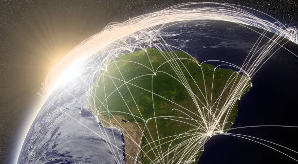 network over south america - south america travel stock photos and pictures