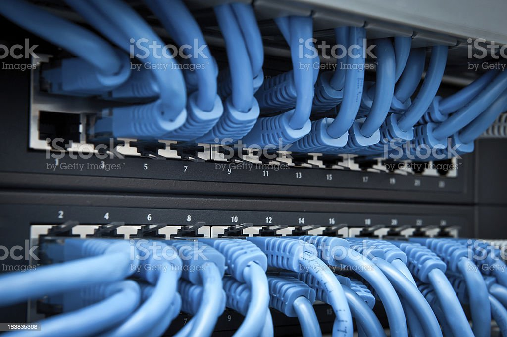 Network panel, hub and cable - Royalty-free Blue Stock Photo