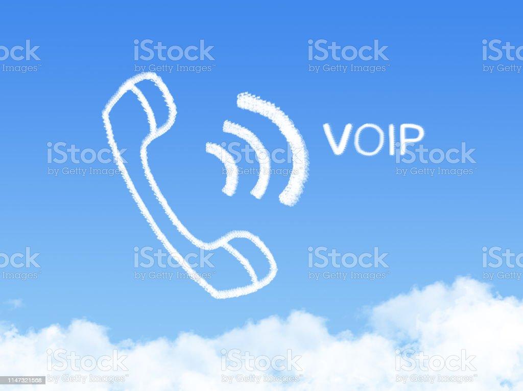 VOIP Network phone cloud shape on blue sky - Zbiór zdjęć royalty-free (Biznes)