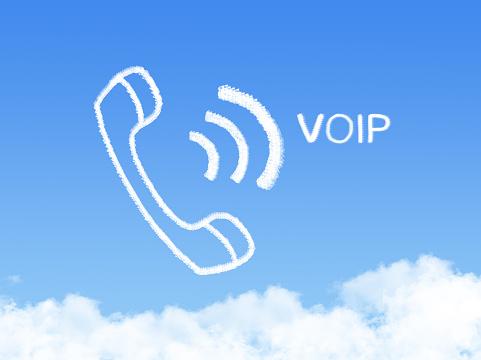 Voip Network Phone Cloud Shape On Blue Sky - zdjęcia stockowe i więcej obrazów Biznes