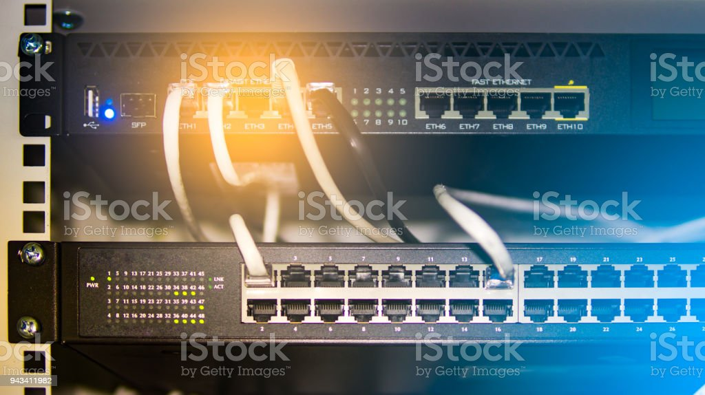 Network router hub for internet connection computer. stock photo