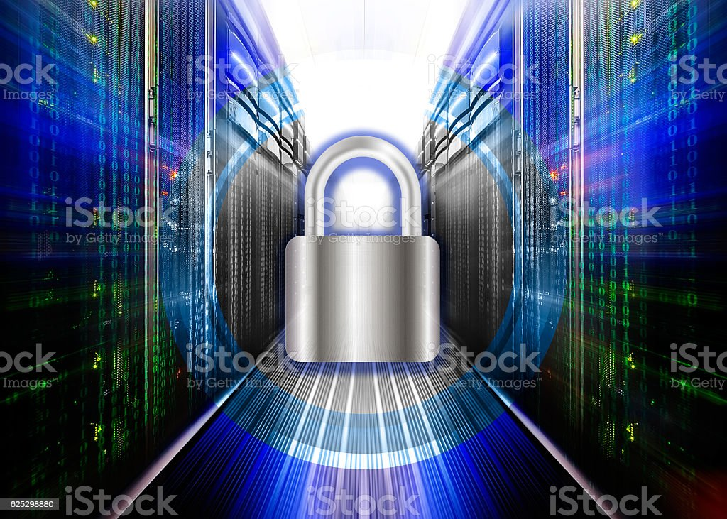 Network safety concept - server closed with padlock, database security. stock photo