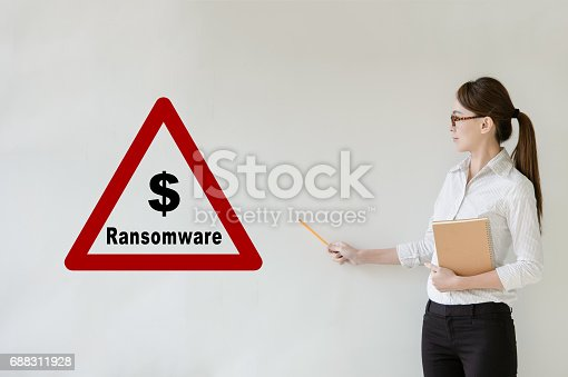 683716072istockphoto Network security concept - Asian businesswoman pointing side, Text Ransomware  on blank background with copy space. 688311928