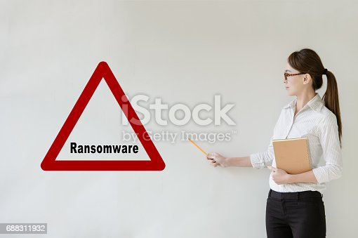 683716072 istock photo Network security concept - Asian businesswoman pointing side, Text Ransomware  on blank background with copy space. 688311932