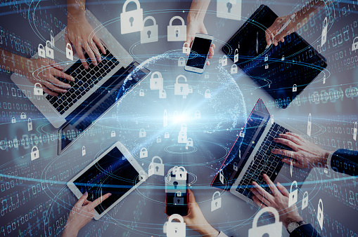istock Network security concept. Cyber protection. Anti virus software. 1169668297
