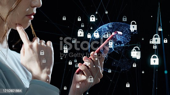 istock Network security concept. Data protection. Biometrics. 1210901864