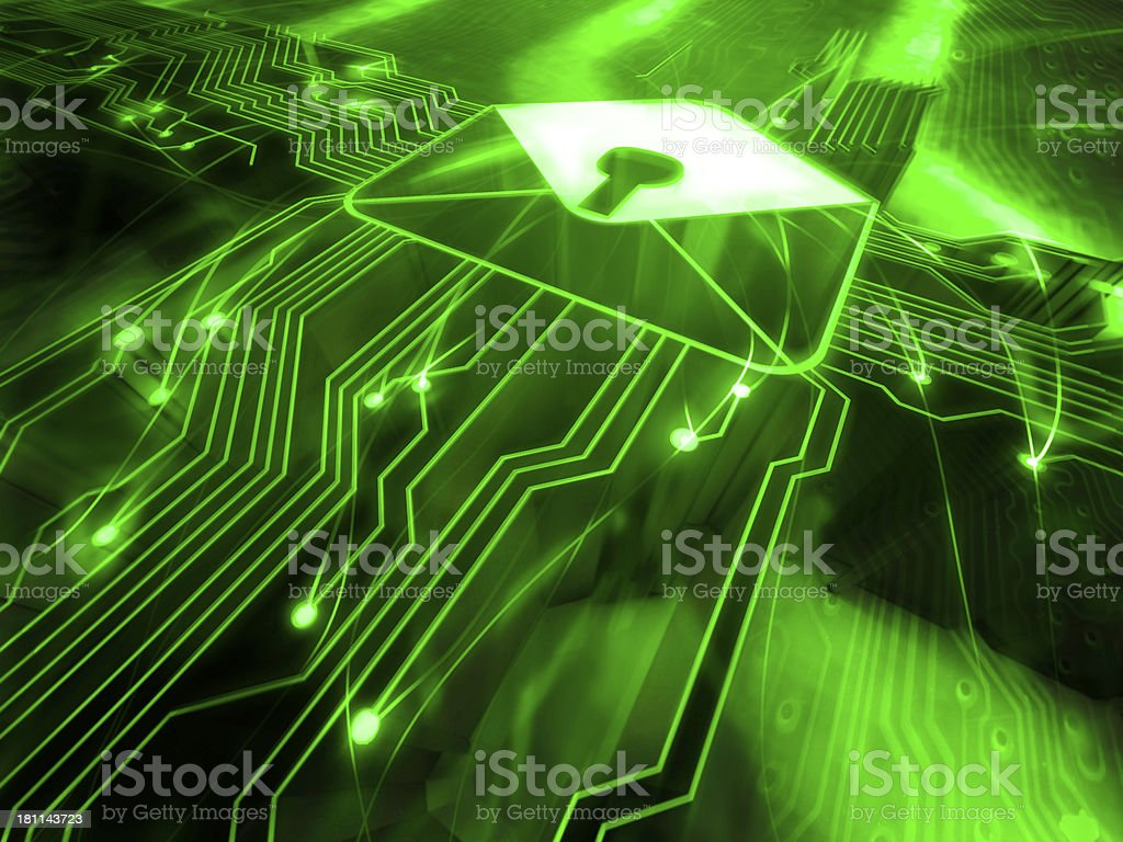 Network Security concept with lock mail stock photo