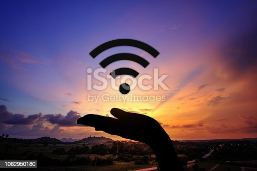 1068838170 istock photo Network security icon with graphic diagram on beautiful sunset background. 1062950180