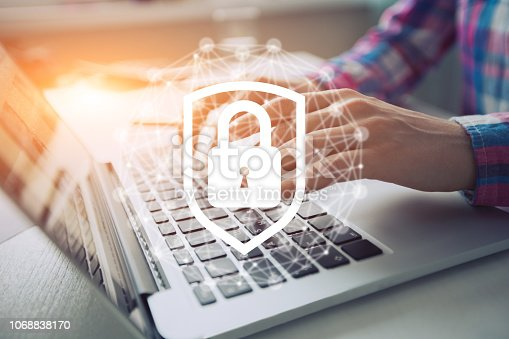 istock Network security icon with graphic diagram on mobile screen. 1068838170