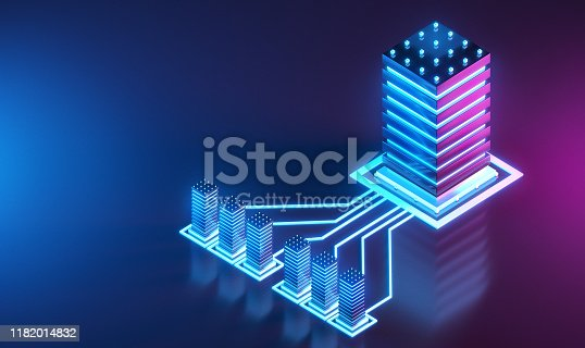 Network Server Solutions concept. Isometric 3D render.