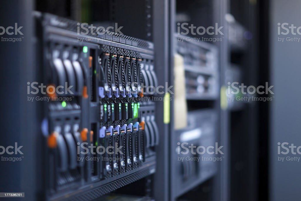 Network servers in data center stock photo