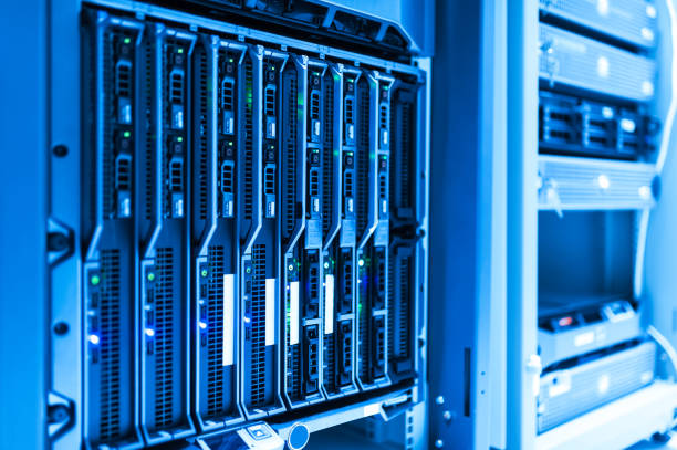 Network servers in data room Domestic Room stock photo
