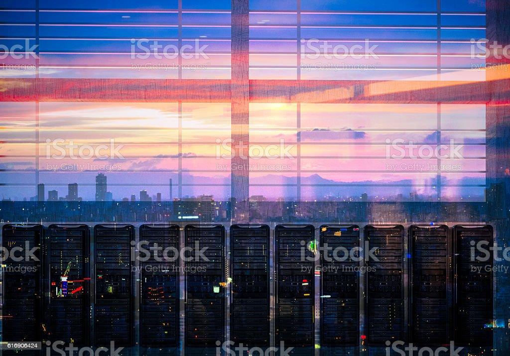 Network servers racks with skyline stock photo
