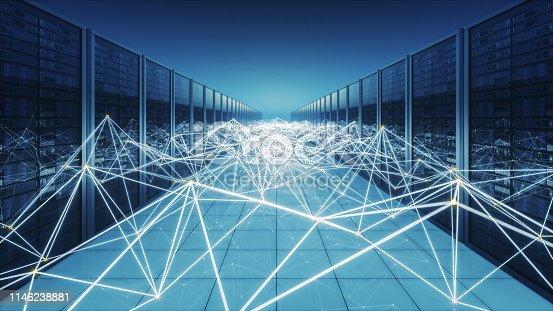 Network servers with connections in an abstract futuristic environment.
