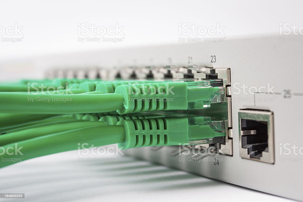 Network switch and cable royalty-free stock photo
