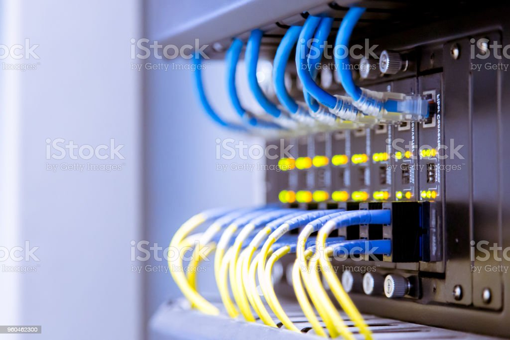 Network Switch And Ethernet Cablesdata Center Concept Stock Photo -  Download Image Now