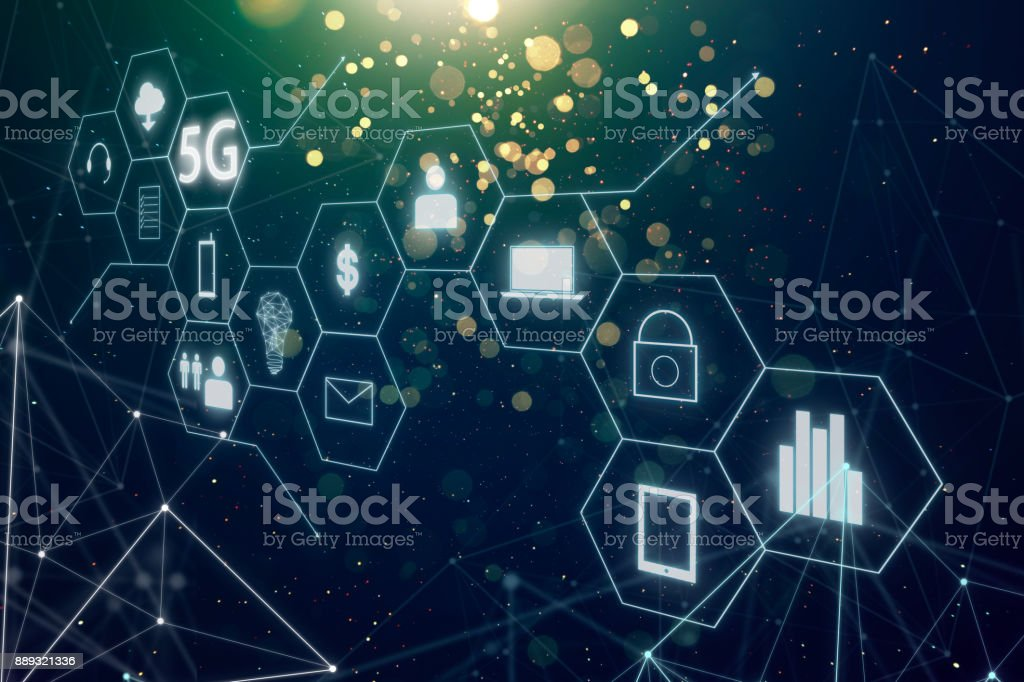 5G network wireless systems and internet of things with abstract bokeh and dot  connection background . stock photo