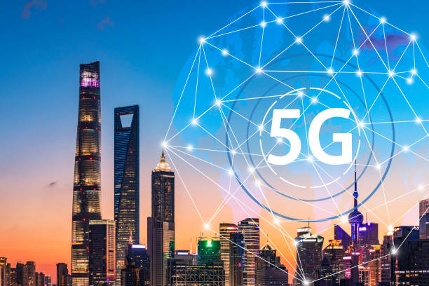 5G network wireless systems and internet of things with modern city skyline. Smart city and communication network concept. jin mao tower stock pictures, royalty-free photos & images